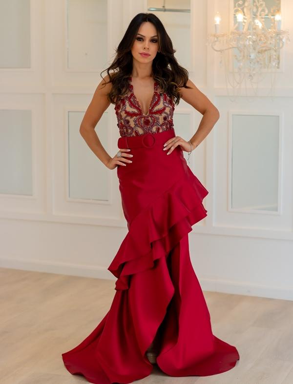 vestido longo vermelho festa