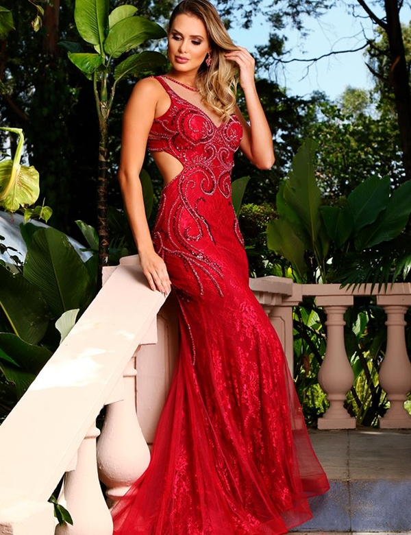 vestido longo vermelho marsala
