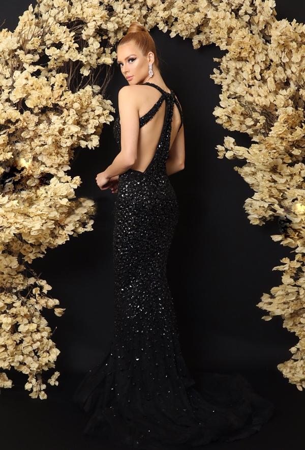 vestido de festa preto longo decote costas