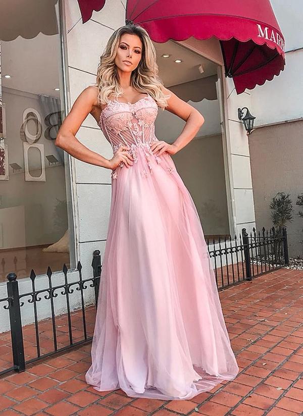 vestido corpete longo rosa