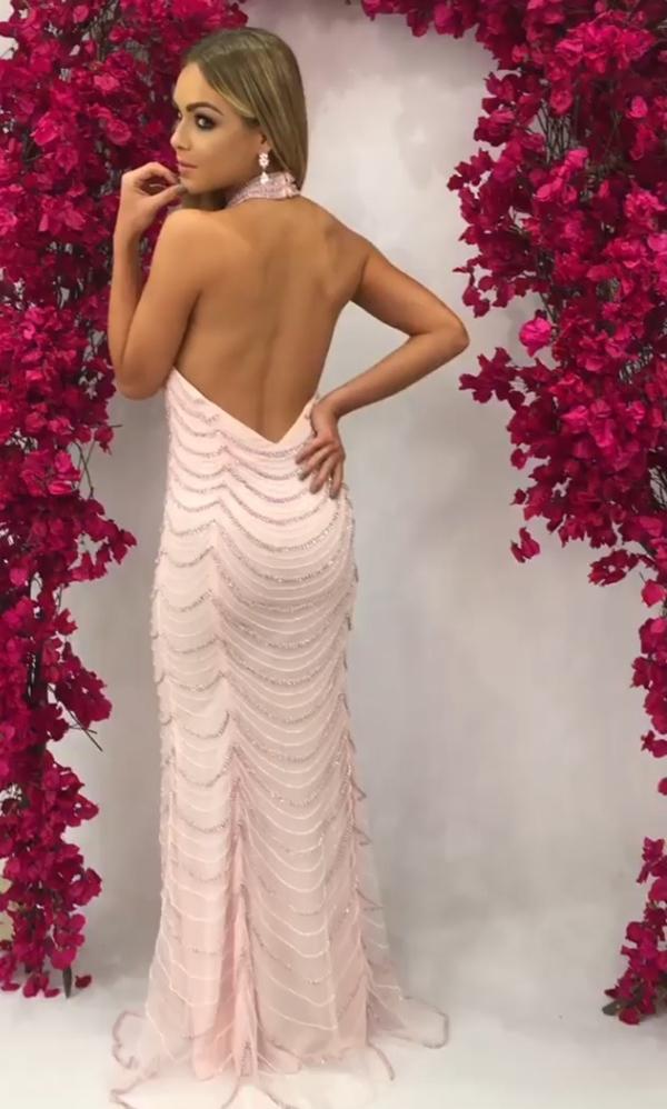 vestido longo rosa claro costas nuas