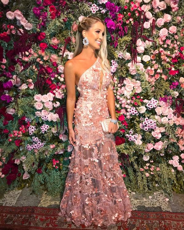vestido agilita longo rosa um ombro só