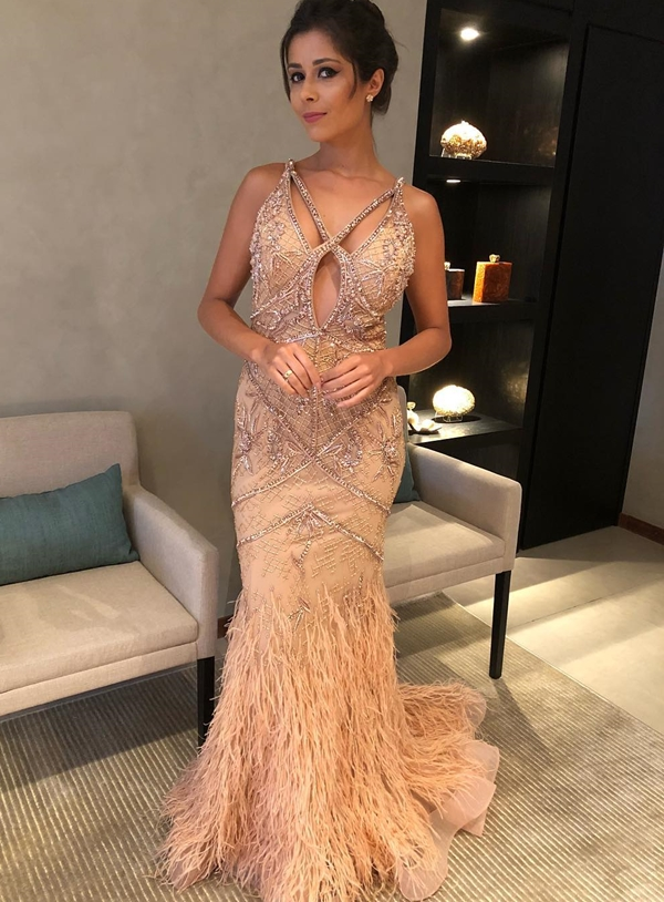 vestido de festa bordado rose gold
