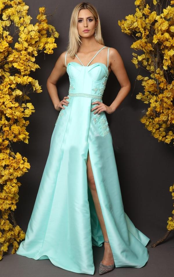 vestido longo tiffany com fenda