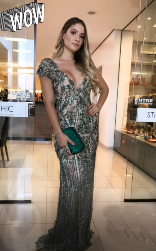 vestido de festa bordado verde