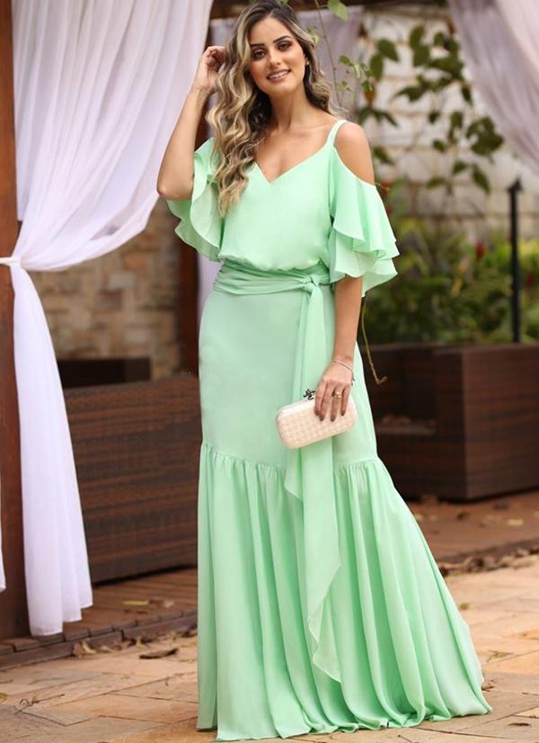 vestido verde menta longo