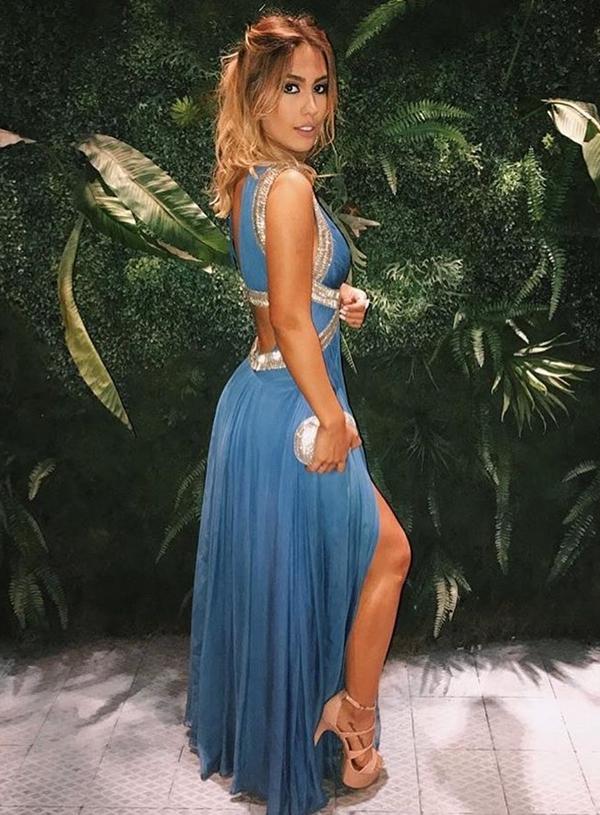 Gabi Brandt vestido longo azul