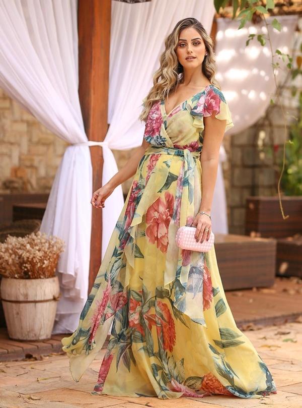 vestido de festa floral longo
