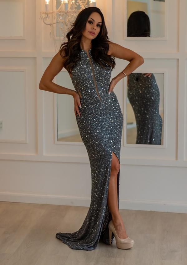 vestido de festa chumbo