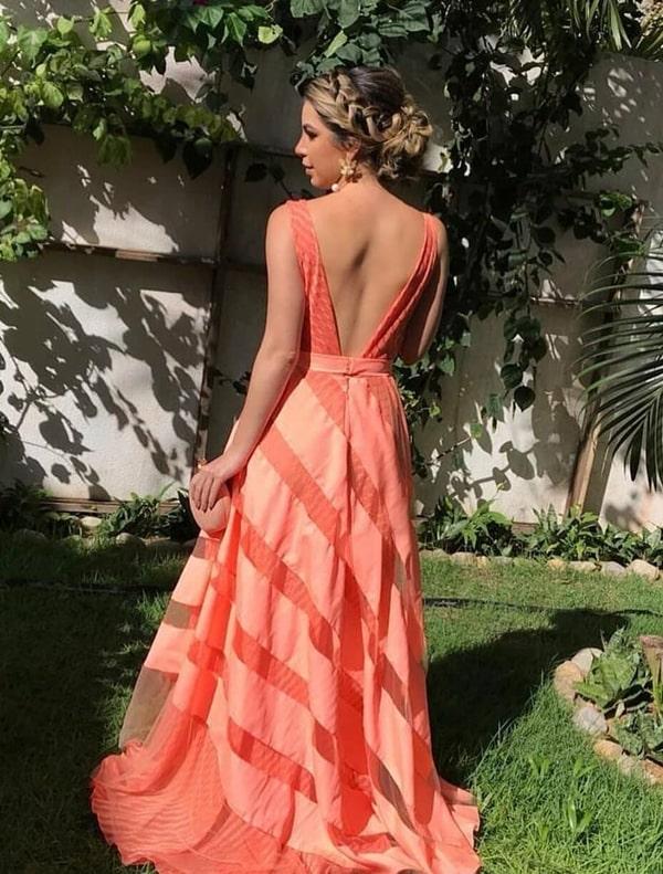 vestido de festa longo coral laranja neon listrado