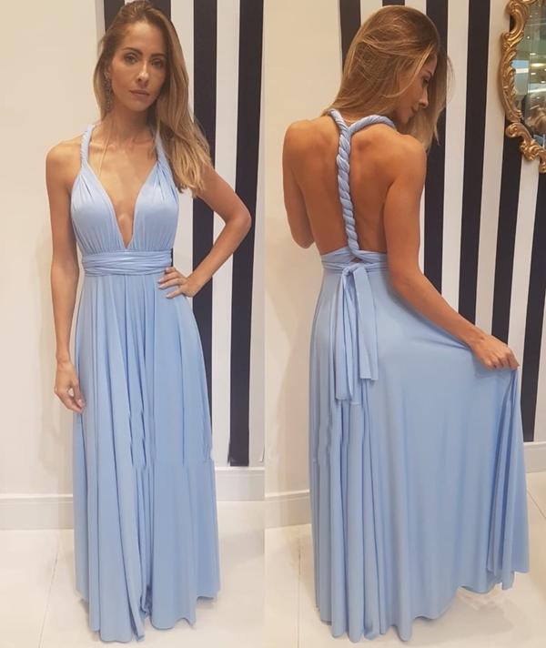 vestido longo azul claro multiformas