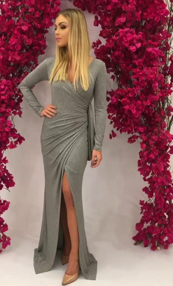 vestido de festa cinza manga longa