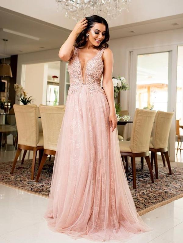 vestido de festa rose claro