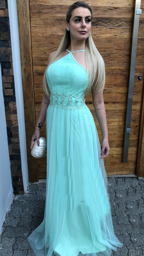 vestido verde menta ou tiffany