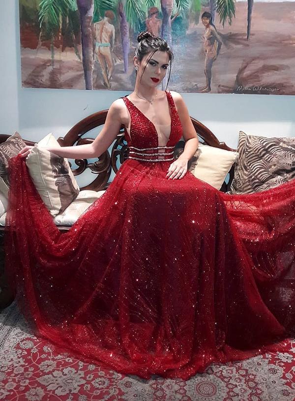 vestido de festa marsala com brilho