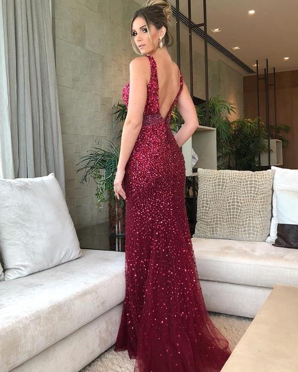 vestido de festa marsala bordado para formanda
