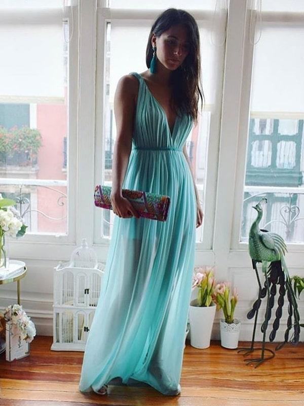 vestido longo tiffany para madrinha de casamento na praia