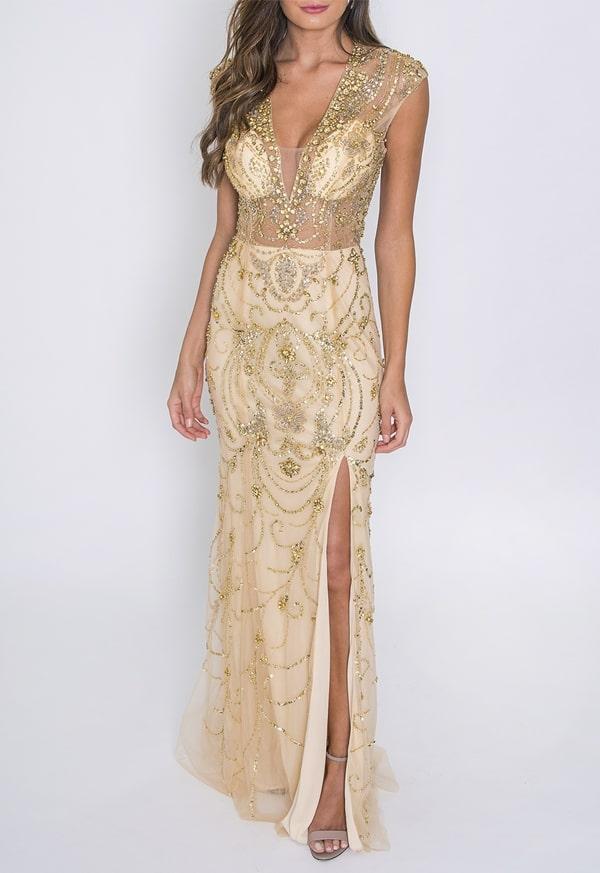 vestido de festa longo dourado com transparência