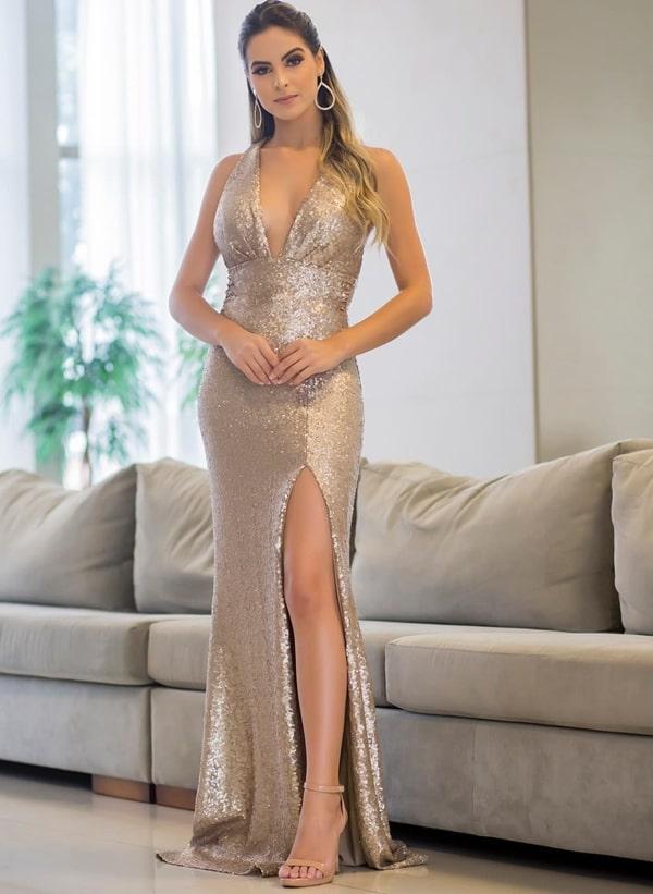 vestido longo paete dourado