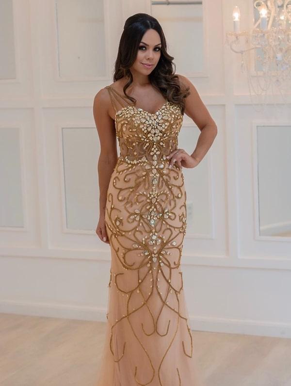 vestido de festa longo dourado bordado