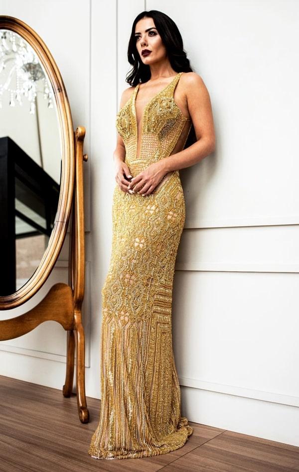 vestido de festa longo dourado