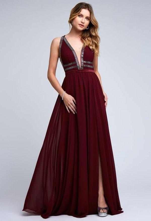 vestido marsala longo para madrinha