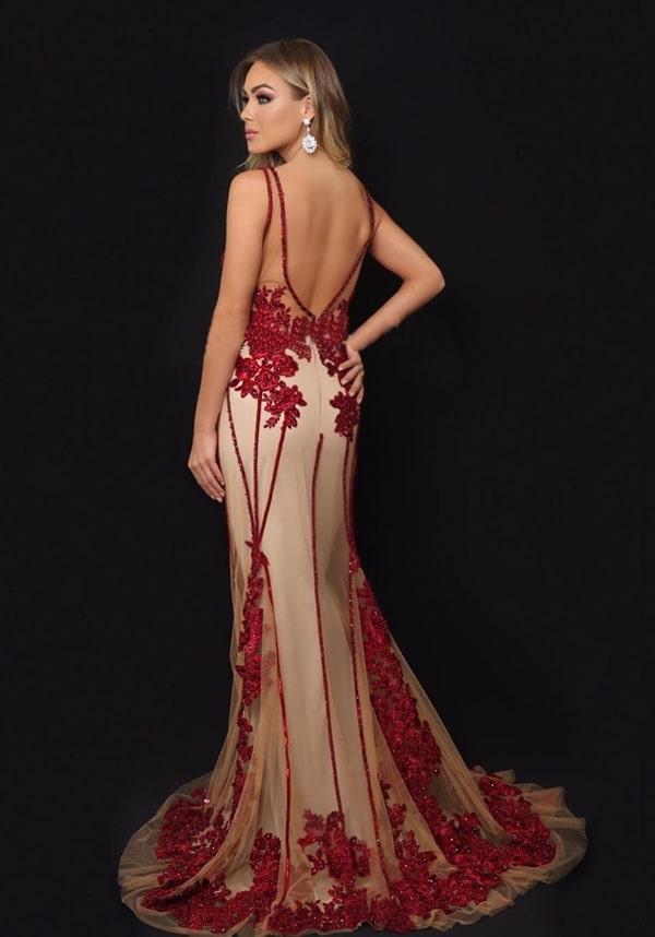 vestido marsala e nude longo