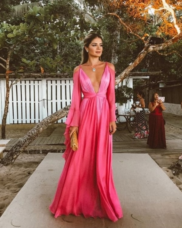 thassia naves vestido longo rosa casamento na praia