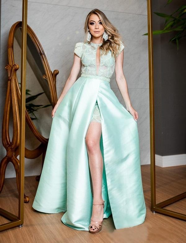 vestido longo verde menta 2 em 1 com a saia removível
