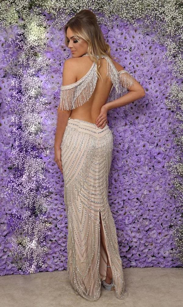 vestido longo bordado com decote nas costas