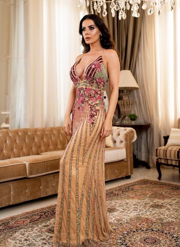 vestido longo bordado rose e marsala