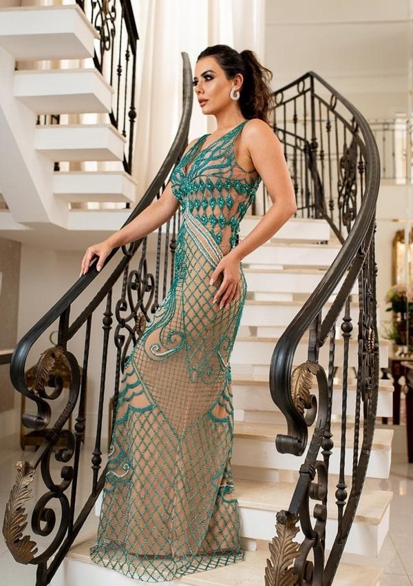 vestido de festa longo verde bordado