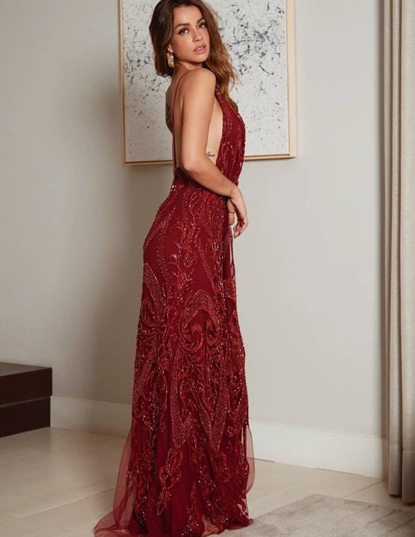 vestido de festa longo marsala bordado