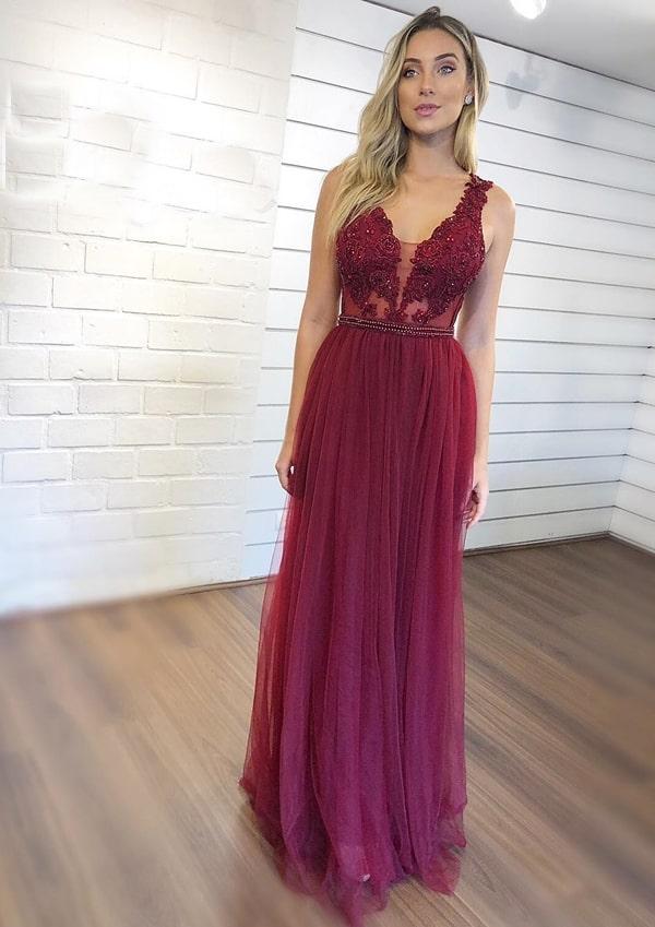 vestido longo marsala com saia de tule