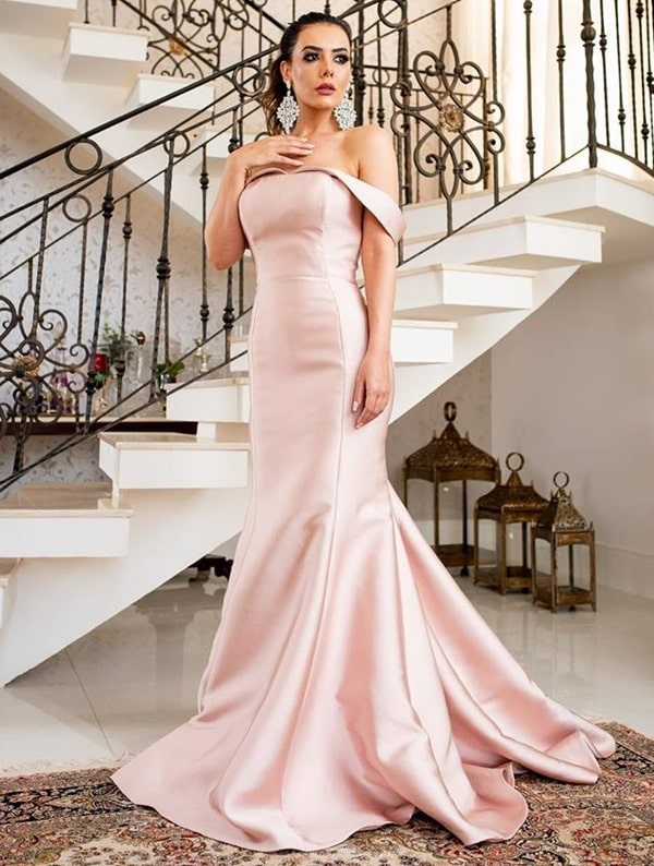 vestido longo rose semi sereia