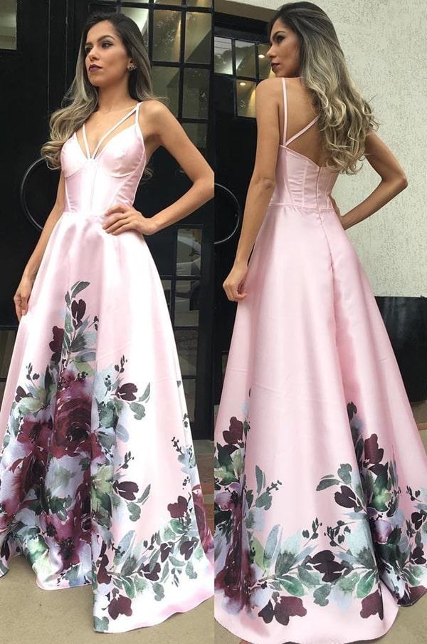 vestido longo rose com estampa floral