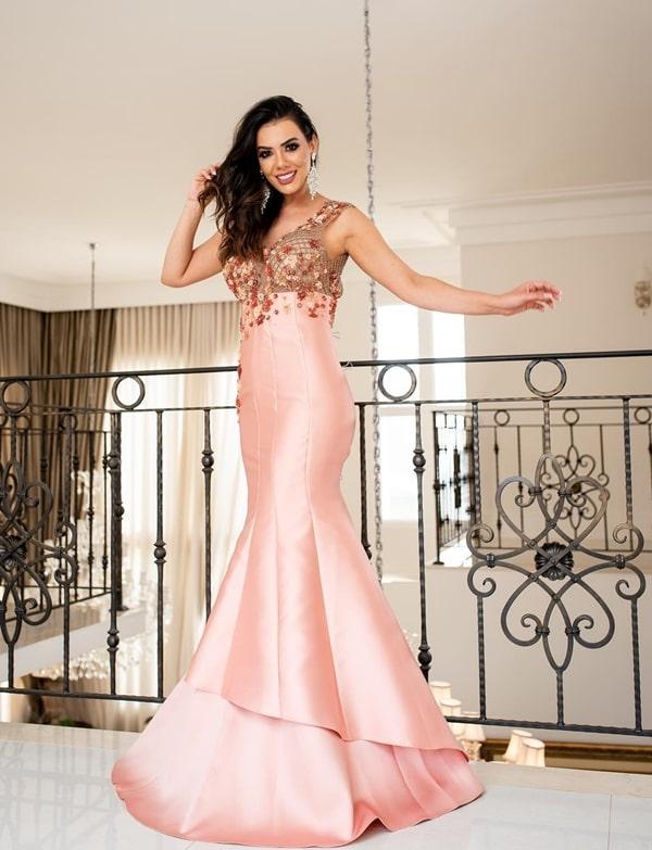 vestido longo rose modelo sereia