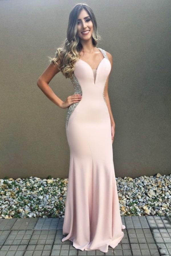 vestido longo rose com brilho na lateral