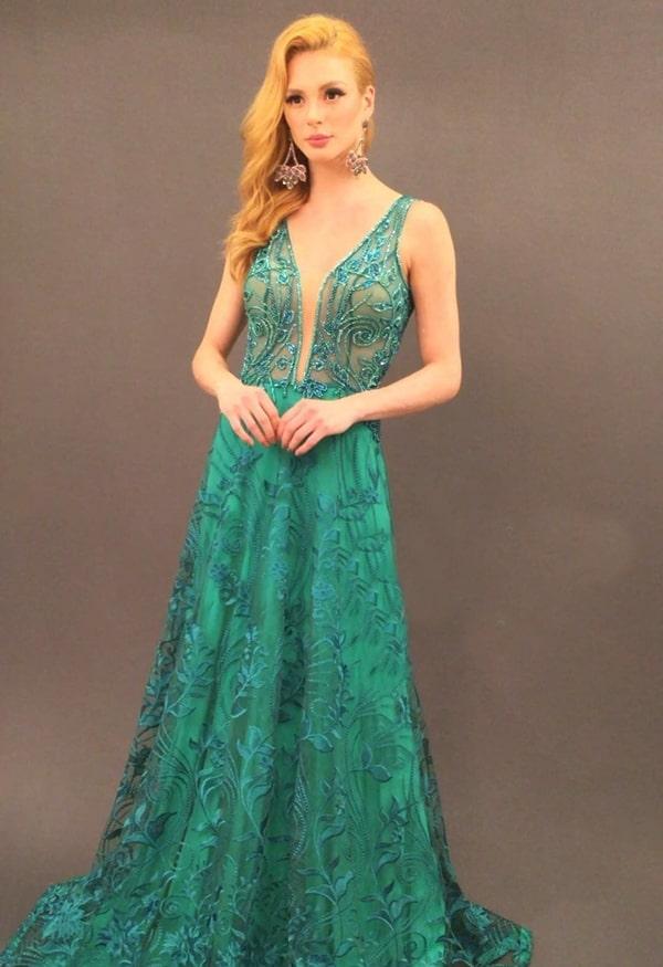 vestido de festa longo verde com renda