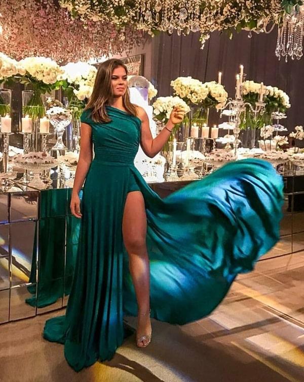 vestido de festa longo verde com fenda