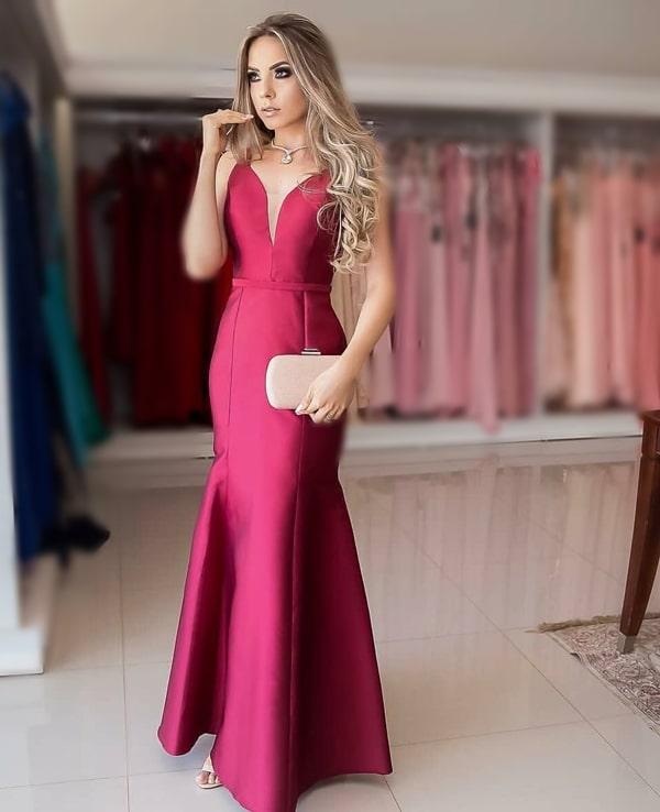 vestido longo marsala para madrinha