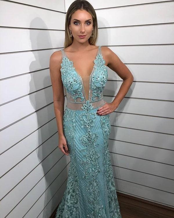 vestido azul tiffany bordado