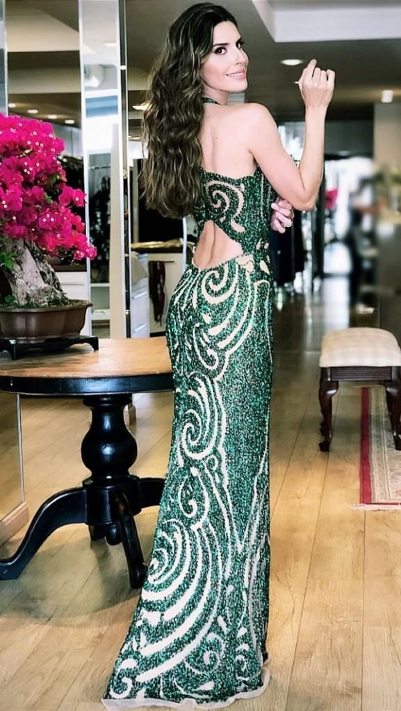 vestido longo verde bordado