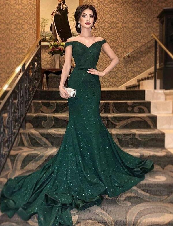 vestido de festa longo verde com brilho