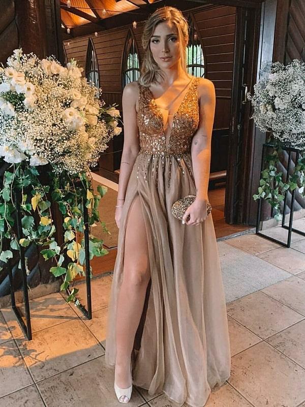 vestido de festa longo dourado com fenda