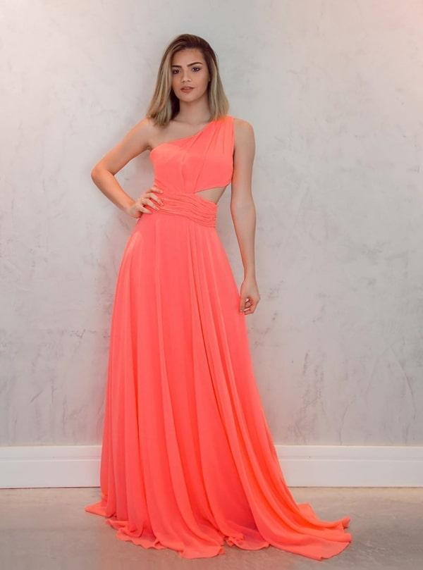 vestido de festa longo laranja neon