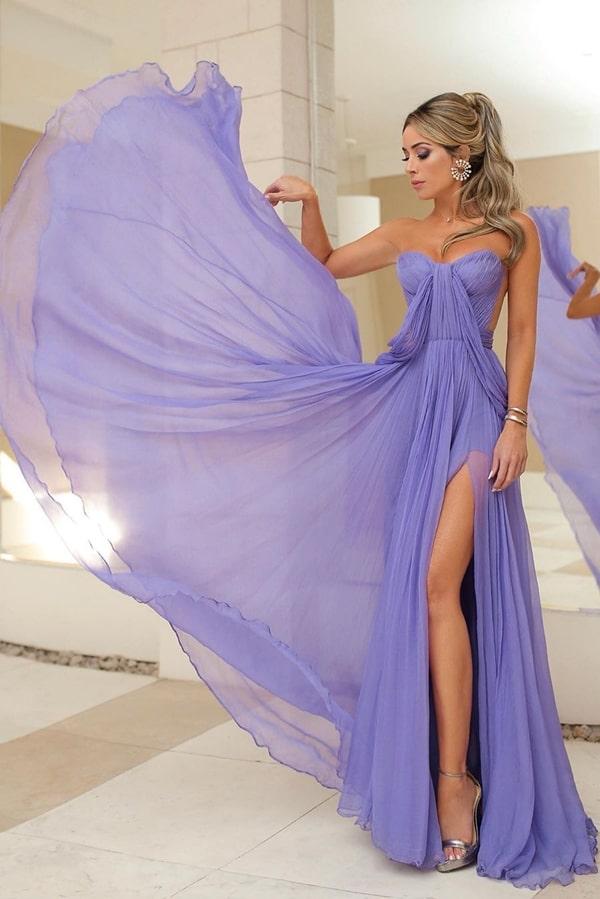 vestido de festa longo lavanda