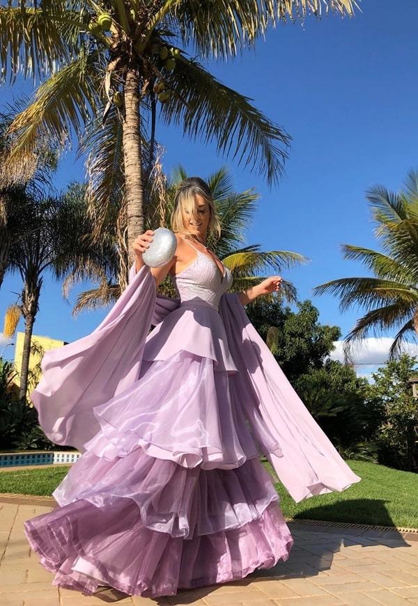 Vestido longo lavanda e lilás para madrinha de casamento