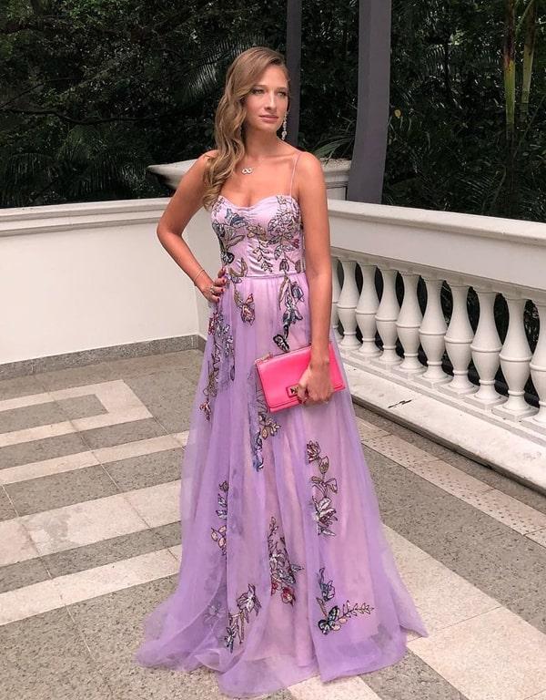vestido longo lavanda bordado