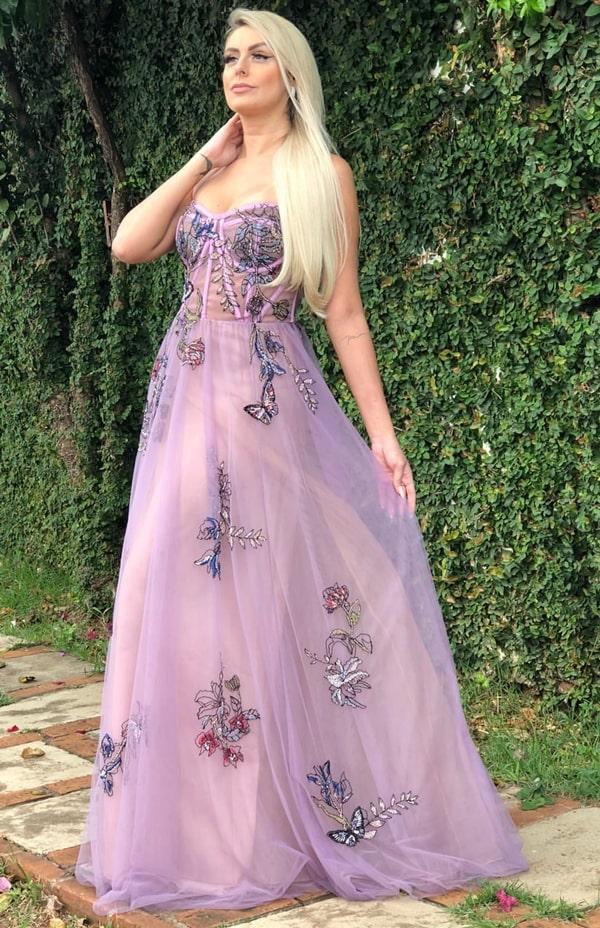 vestido longo lavanda e lilás